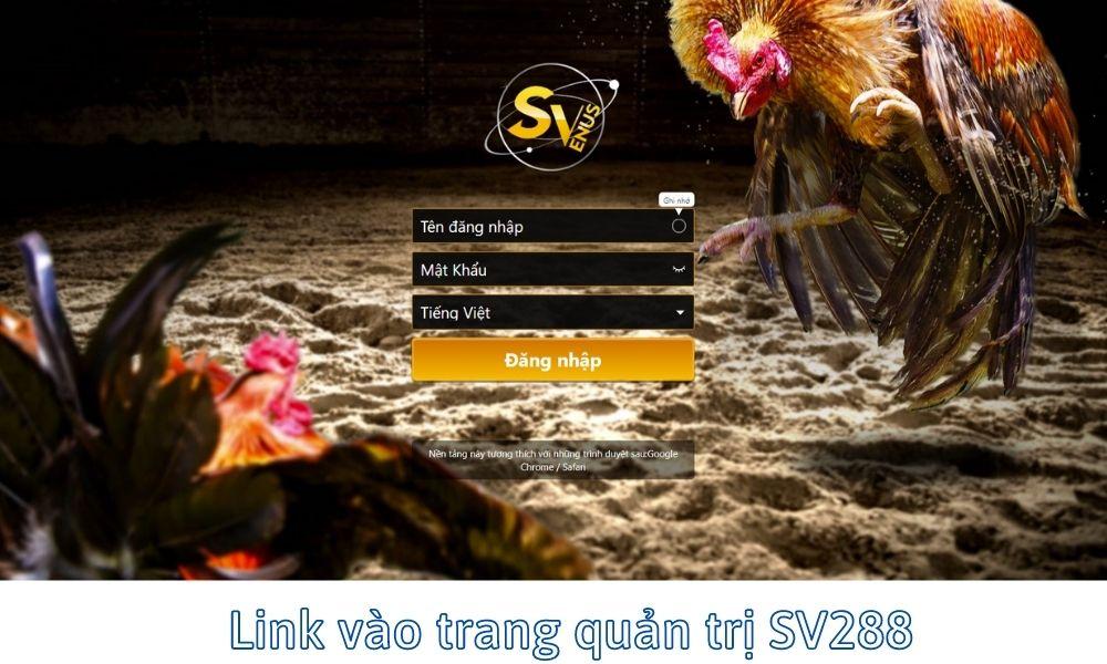 Link vào trang quản trị SV288